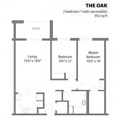 2 Bed 1 Bath The Oak Floor Plan at Aspenwoods Apartments, Eagan, MN, 55123