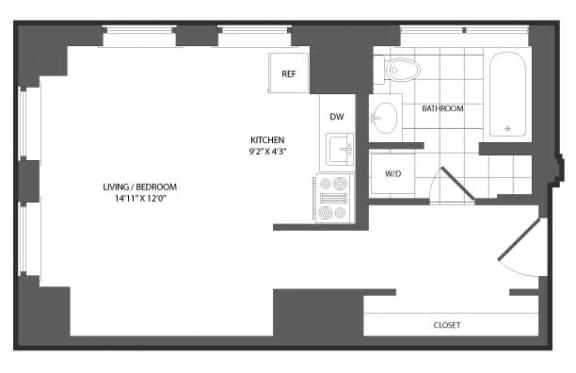 Floor Plan  Studio at The Republic, Philadelphia, 19103