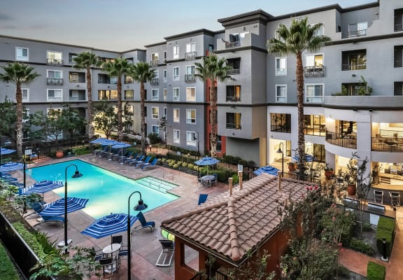 Aerial View of Courtyard with pool and sundeck at Dublin Station by Windsor, Dublin, CA