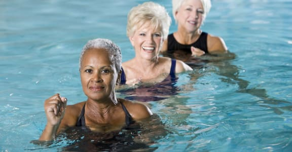 Women At Summing Pool at 55+ FountainGlen  Jacaranda, Fullerton, CA