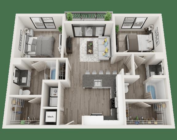 Floor Plan  B3-A Floor Plan at Link Apartments® Innovation Quarter, Winston Salem, 27101