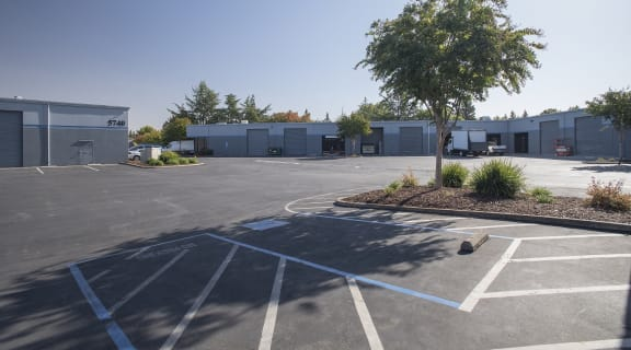 Hillsdale Business Park Parking Lot and Buildings with Roll-Up Doors