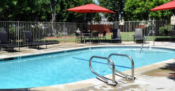 community pool and lounge area