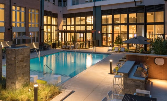 Pool with Cabana and Chairs at Berkshire Chapel Hill, Chapel Hill, NC, 27514