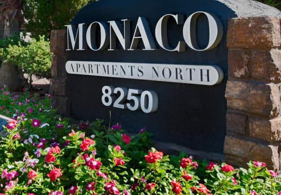 Monaco Apartments sign