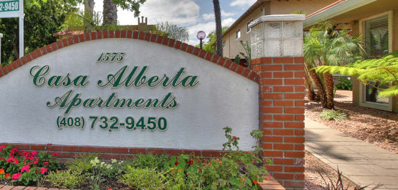 Welcoming Property Signage at Casa Alberta Apartments, Sunnyvale