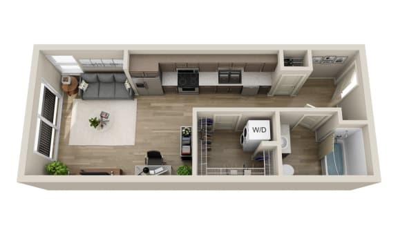 Floor Plan  Studios available at BDX at Capital Village in Rancho Cordova, CA