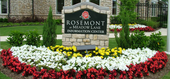 Rosemont at Meadow Lane Apartments Exterior Monument Sign and Flowers
