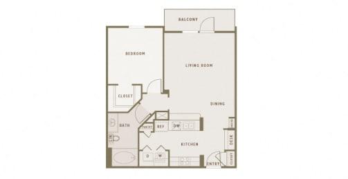 Monterra Las Colinas - A3 - 1 bedroom - 1 bath