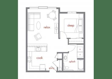 Aspen Floor Plan at Tivalli Apartments, Washington, 98087