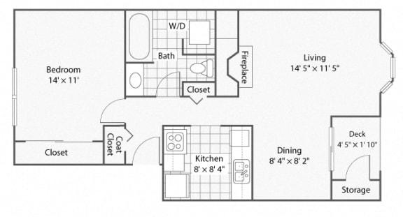 Floor Plan  1 Bedroom_1 Bathroom_Cambridge   Windsor Apartments For Rent in Renton, WA 98059