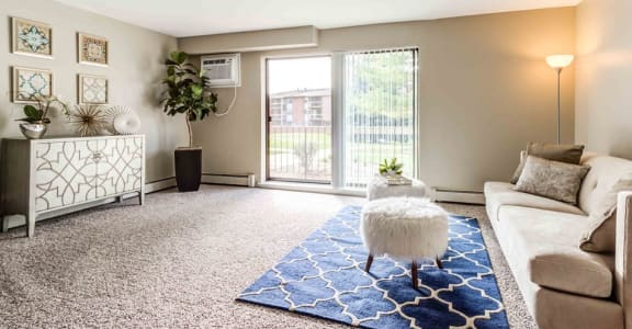 Spacious Living Room With Private Balcony at The Ponds of Naperville, Illinois, 60565