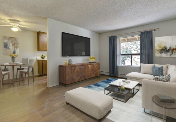 Living room and dining area at Aspen Leaf Apartments in Flagstaff AZ