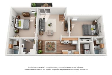 950 sq.ft. Two Bed Two Bath