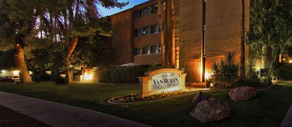 Exterior and signage at Van Buren Apartments in Tucson AZ