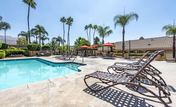Resort style crisp pool and sun deck at The Hills at Quail Run