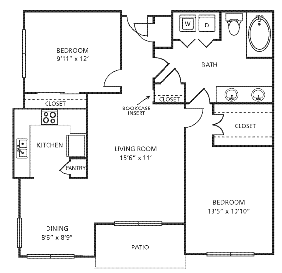 Floor Plan  D1 Floor Plan at Providence Uptown, Houston, TX, 77056