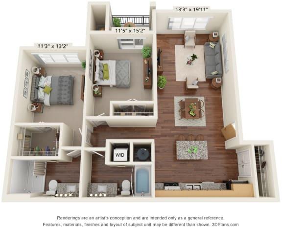 Two Bedroom - D2 (60%) Floor Plan at South Range Crossings, Parker