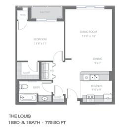 Floor Plan  The Louis 1 Bed 1 Bath Floor Plan at Urban Park Apartments, St Louis Park, Minnesota