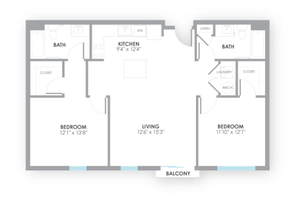 Floor Plan  Circuit2 Floor Plan at AMP Apartments, Louisville, Kentucky