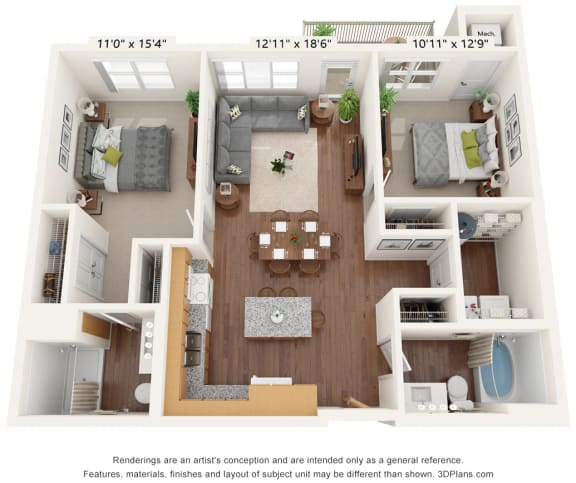Floor Plan  Bren Road Station_3D_2 Bedroom -  C-HV