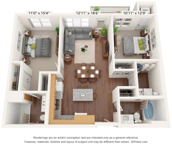 Floor Plan  Bren Road Station_3D_2 Bedroom -  C