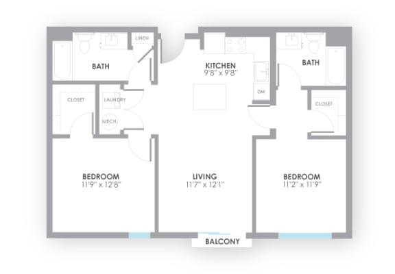 Floor Plan  Circuit Floor Plan at AMP Apartments, Kentucky, 40206