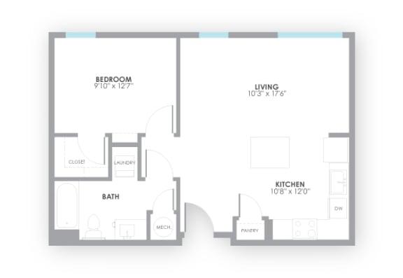 Floor Plan  Relay2 Floor Plan at AMP Apartments, Louisville, KY, 40206