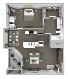The Vineyards - A2 (Chardonnay) - 1 Bed 1 Bath - 3D Floor Plans