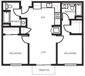 Two bedroom Floor Plans l 777 Broadway Apartments in Oakland
