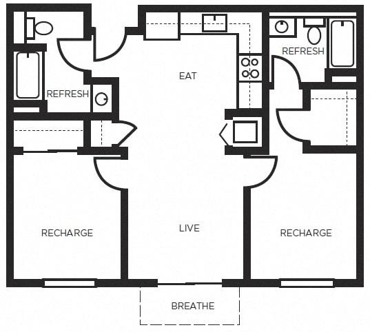Floor Plan  Two bedroom Floor Plans l 777 Broadway Apartments in Oakland