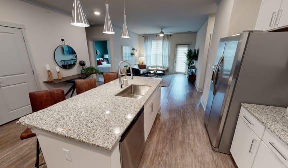 Talus Flats Apartments Model Kitchen and Living Room