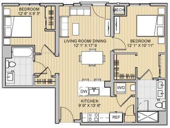 2 Bed 2 Bath 28b939 Floor Plan at 28 Austin St, Newton