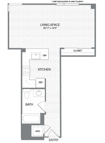 Floor Plan  Hayes - 0 Bedroom 1 Bath Floor Plan Layout - 619 Square Feet