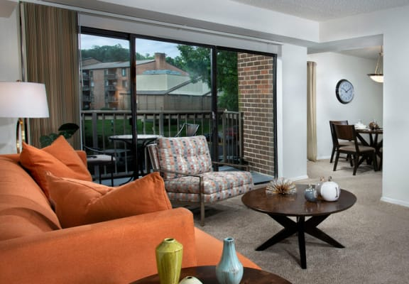 photo of furnished living room at Vistas of Annandale apartments with couch, chair, coffee table, TV and TV stand
