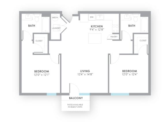 Floor Plan  Fuse Floor Plan at AMP Apartments, Louisville, KY