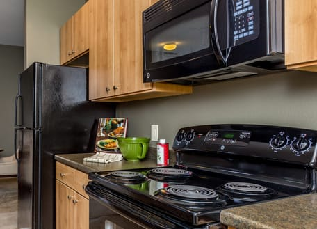 Kitchen with black appliances at Berkshire Fort Mill, Fort Mill, 29715