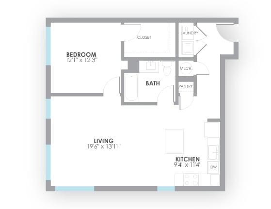 Floor Plan  Watt Floor Plan at AMP Apartments, Louisville