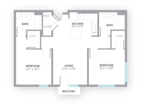 Floor Plan  Fuse2 Floor Plan at AMP Apartments, Louisville, 40206