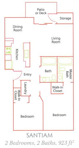 Floor Plan  Williamette Park_Santiam_2 Bedroom_2 Bathroom_Apartment