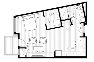 Grosbeak Floor Plan at Birdtown Flats, Robbinsdale, 55422