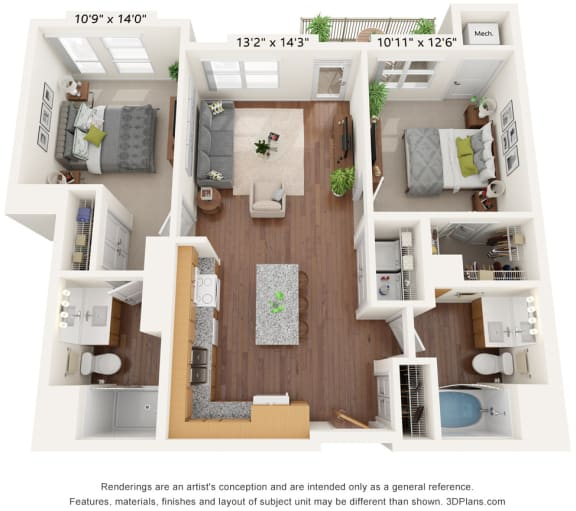 Floor Plan  Bren Road Station_3D_2 Bedroom - A