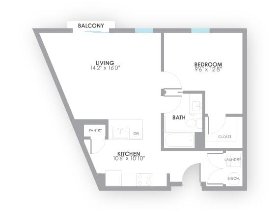 Floor Plan  Pulse Floor Plan at AMP Apartments, Louisville, Kentucky