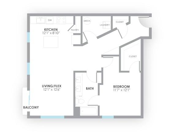 Floor Plan  Junction Floor Plan at AMP Apartments, Kentucky