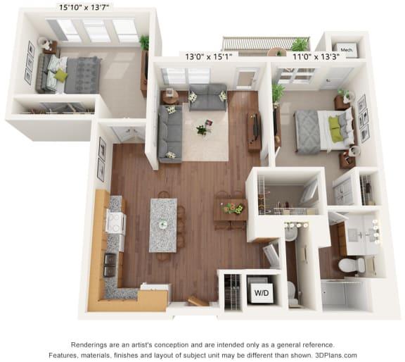 Floor Plan  Bren Road Station_3D_2 Bedroom - E