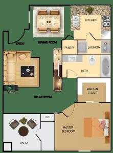 Floor Plan  1 bedroom 1 bathroom condo