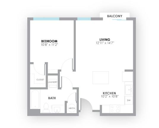 Floor Plan  Strobe Floor Plan at AMP Apartments, Louisville, 40206