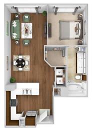 Cityplace Heights Apartments floor plan - A3 - 1Bedroom 1Bathroom - 3D