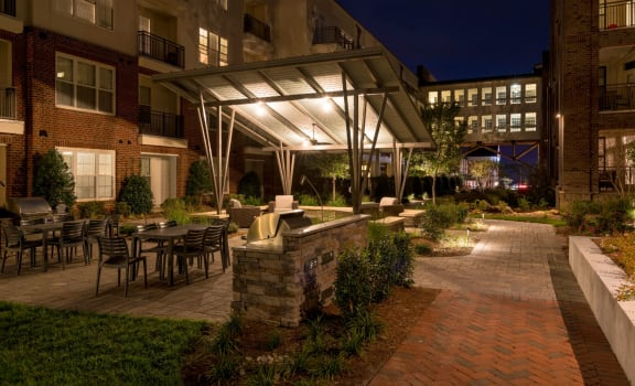 Outdoor Grill With Intimate Seating Area at Berkshire Ninth Street, Durham, 27705