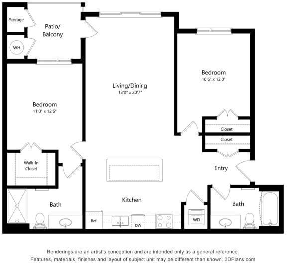 Floor Plan  2 bedroom 2 bath Floor Plan at South Range Crossings, Colorado, 80134